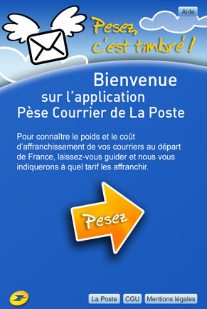 L'application Pese Courrier de La Poste